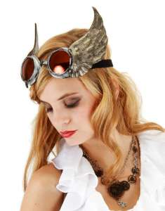 Woman with silver winged goggles