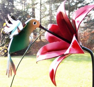 Moose's Metal Marvels hummingbird and flower