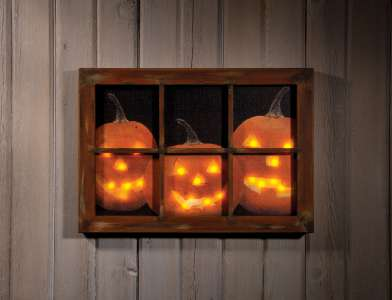 Light-up Pumpkins in Window